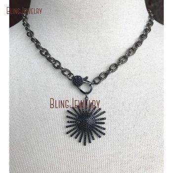 Gunmetal Pave Black Crystal Clasp Choker Gunmetal Pave Black Crystal Starburst Pendant On Gunmetal Texturized Chain CN24380 фото