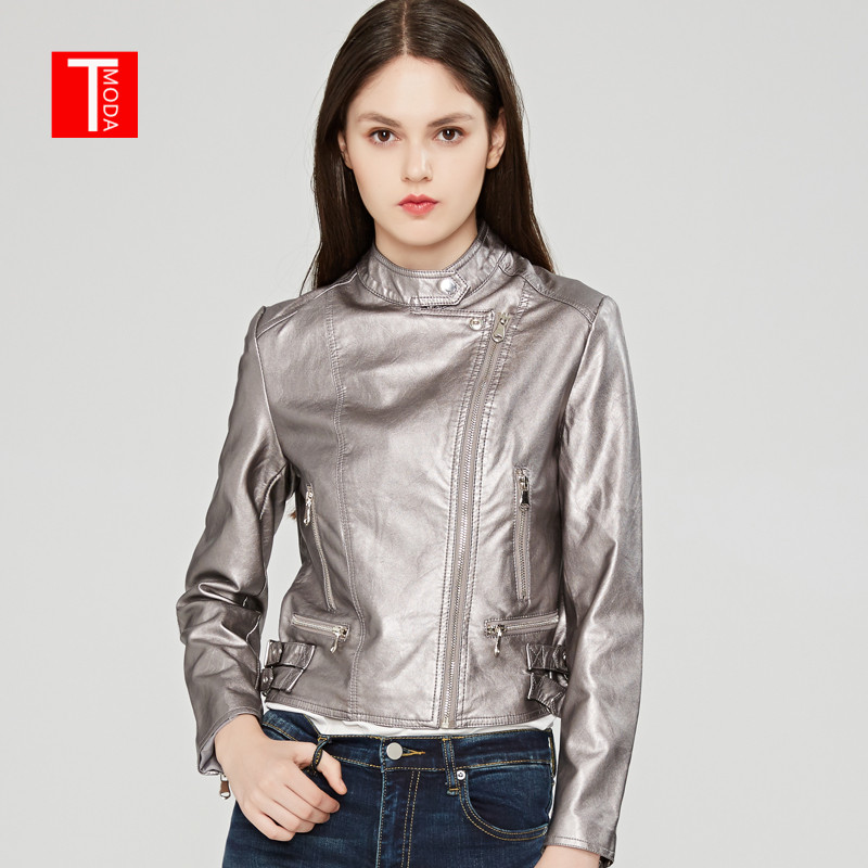 2018 Autumn Winter Women Faux   Leather   Jackets and Coats Lady Pu Motorcycle Shining Gary Zipper Coat Streetwear Biker Outerwear
