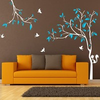 Giant 2.2X2.9M Tree Birds Squirrel Nursery Wall Stickers Removable wall Decal for Kids Baby room ES 15