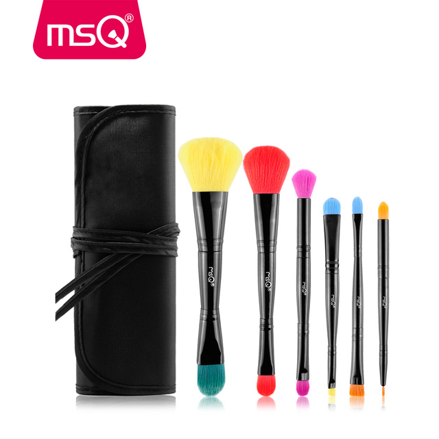 MSQ 6pcs Pro Makeup Brush Set Double-End Foundation Powder Lip Make Up Brush Kit Soft Synthetic Hair With Canvas Case