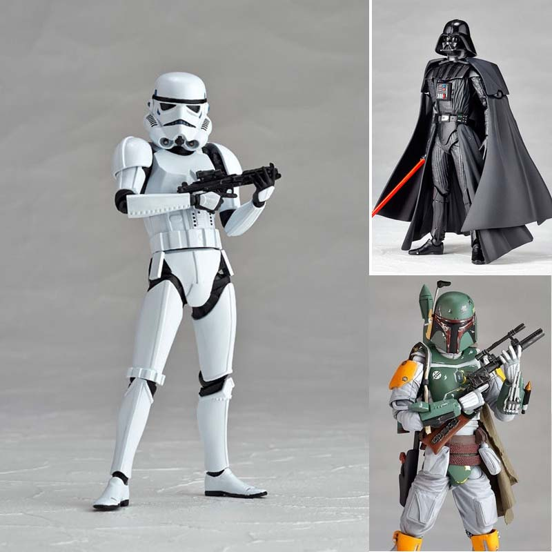 Star Wars Figure Darth Vader Stormtoopers Boba Fett PVC Action Figures Collectible Model Toy 15cm movie figure 16 cm star wars revo 005 boba fett pvc action figure collectible model toy brinquedos christmas gift