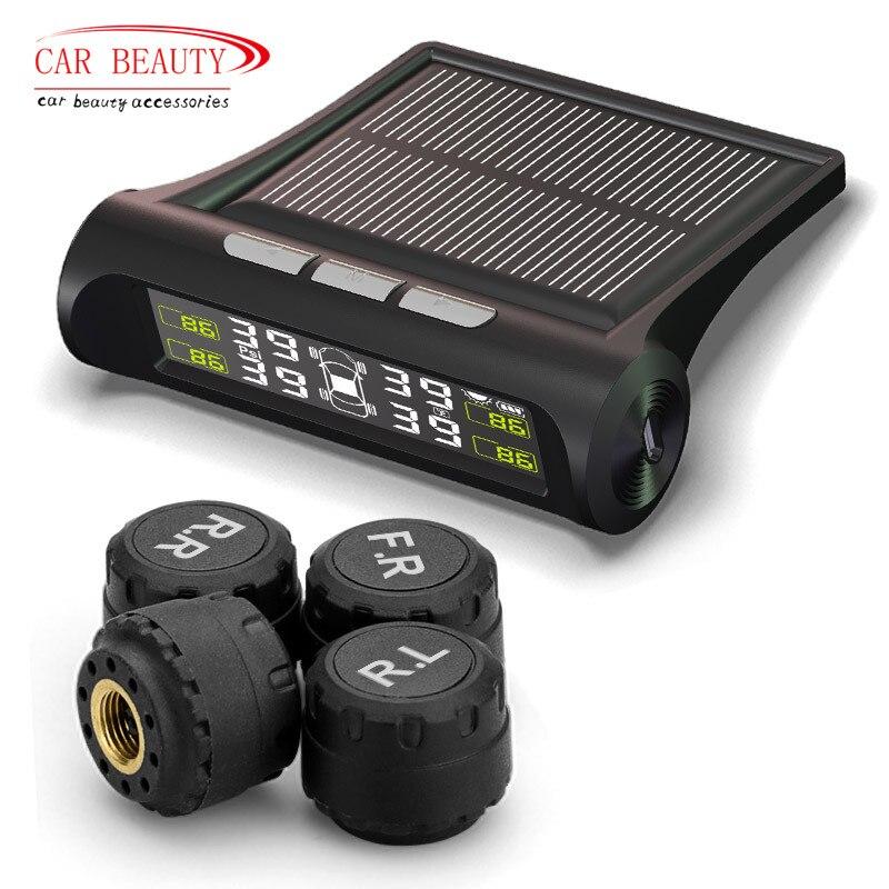 Умный автомобиль TPMS шин давление мониторинга системы Солнечный мощность зарядки цифровой ЖК дисплей Авто охранной сигнализаци