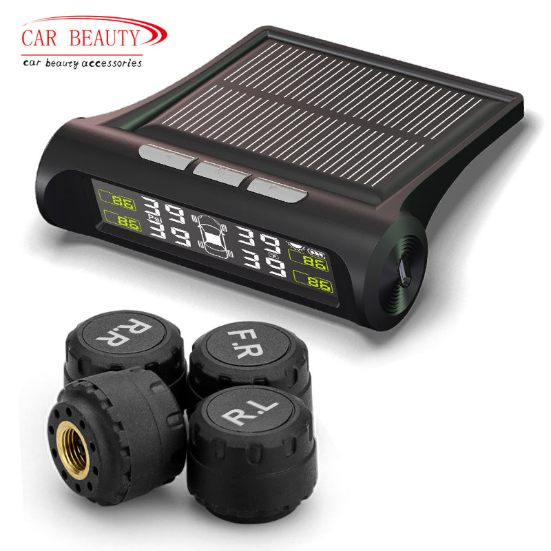 Smart Car TPMS Sistema de Monitoreo de presión de neumáticos energía Solar LCD Digital Display Auto sistemas de alarma de seguridad