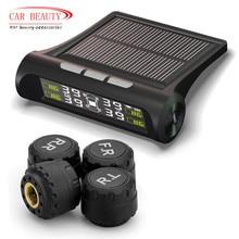 スマート車tpmsタイヤ空気圧監視システム太陽光発電充電デジタルlcdディスプレイ自動セキュリティ警報システム