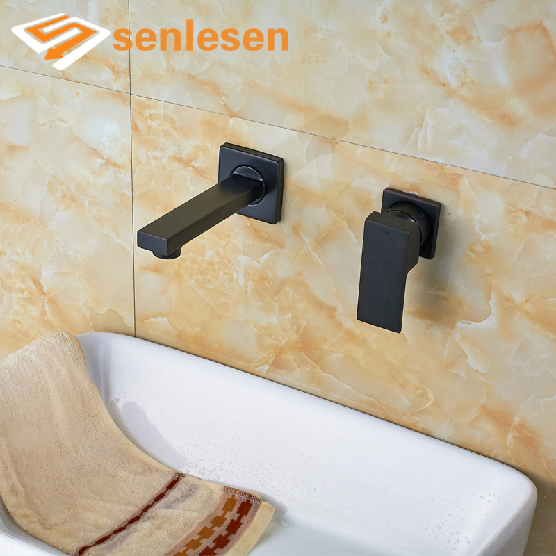 купить Best Price Free Shipping Oil Rubbed Bronze Bathroom Basin Faucet Wall Mounted по цене 3983.97 рублей