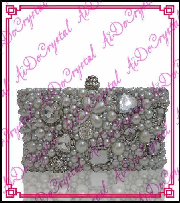 Aidocrystal handmade big flower pattern jewels bestrewed fashion clutch handbag for font b women b font