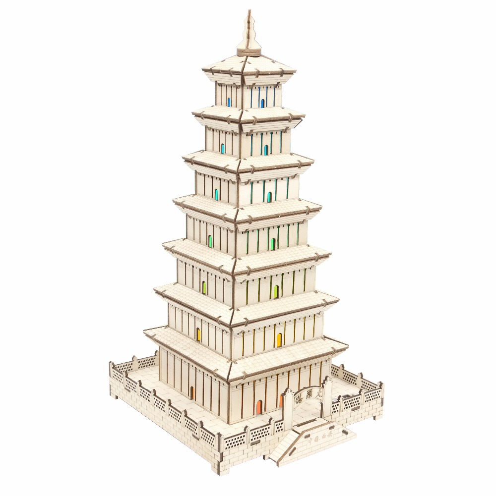 Xi'an Wild Goose Pagoda atmosphere night light Kids toys 3D Puzzle wooden toys Wooden Puzzle Educational toys for Children brand new yuxin zhisheng huanglong high bright stickerless 9x9x9 speed magic cube puzzle game cubes educational toys for kids