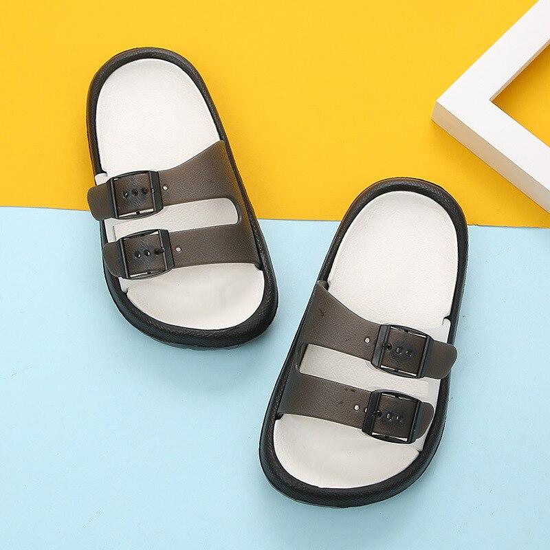Новая летняя мультяшная детская обувь Cave мальчики девочки уличные тапочки дети пляжные вьетнамки дышащий светильник тапки для малыша - Цвет: black