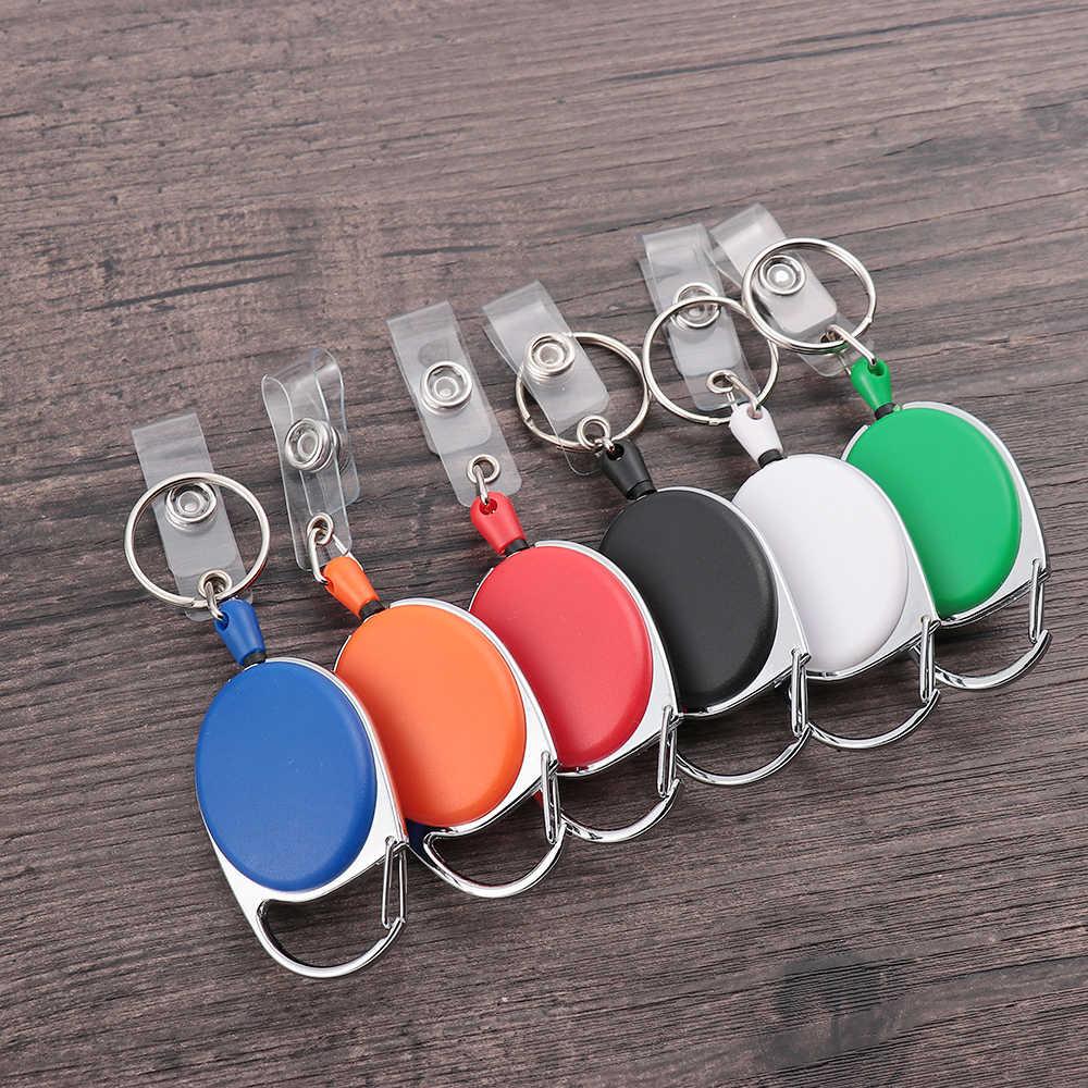 1/2 sztuk Unisex zwijacz Pull brelok ID smycz na identyfikator nazwa Tag torebeczka na klucze karty zaczep do paska trwałe Key Ring łańcuch torby klip
