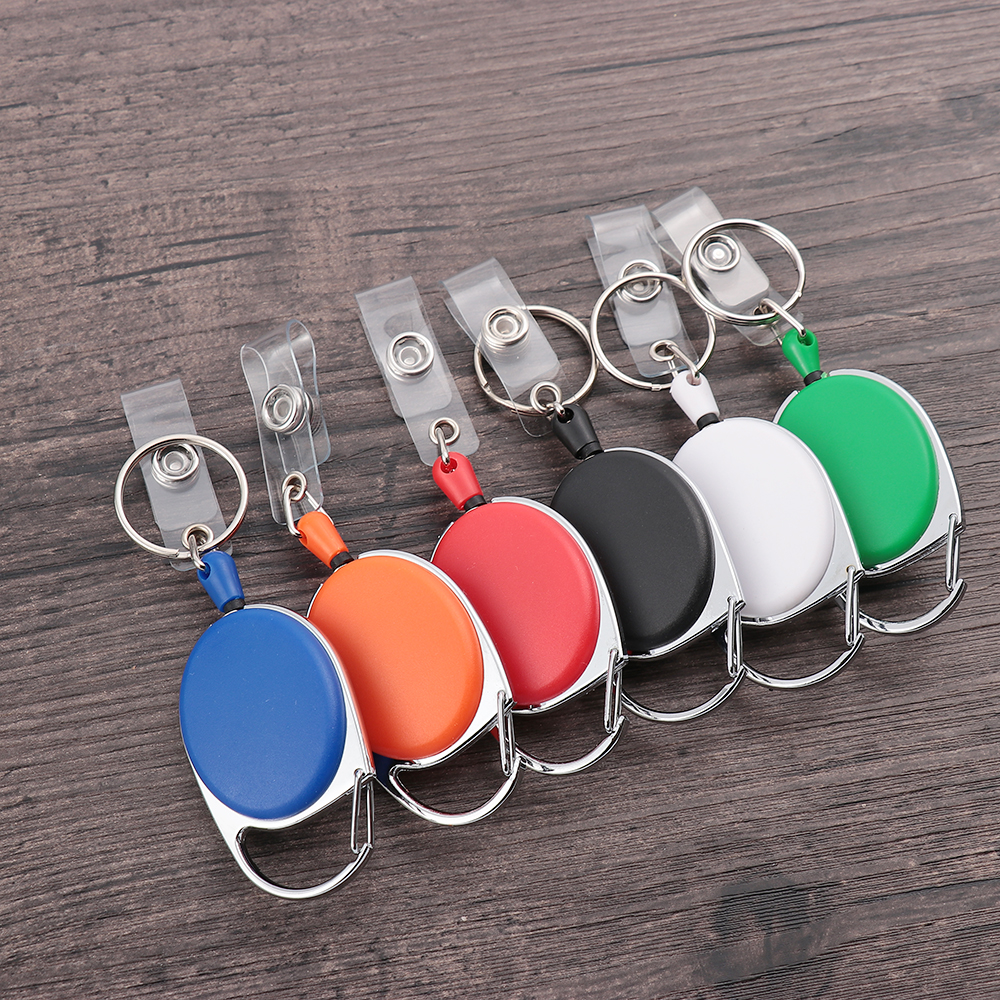1/2PC Unisex Retractable Reel Pull Keychain ID Badge Lanyard Name Tag Durable Key Ring Bag Chain Clip Key Card Holder Belt Clip