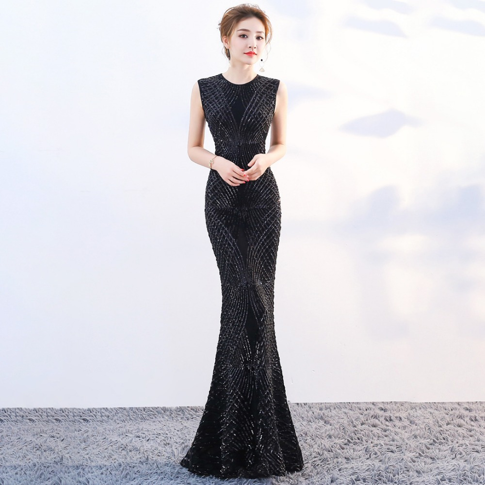 8e197e6b23f Black Sequined Mermaid Evening Dresses Jewel Floor Length Long Formal Dress  For Night Wear ZE088