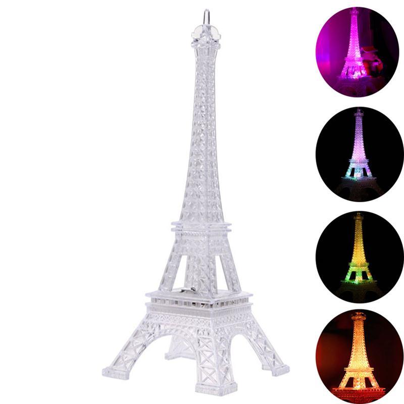 1 * Colorful Eiffel Tower Nightlight Paris Style Decoration LED Lamp  Fashion Desk Bedroom Acrylic Light