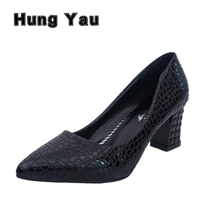Sapatos de Couro de Crocodilo da marca Mulheres Sapatos De Salto Alto Bombas Stiletto Mulheres Sapatos de escritório Calcanhar Quadrado Dedo Apontado Sólidos Plus Size 40