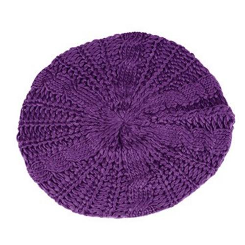 MOCH Beret tresse Crochet Chapeau Bonnet des Femmes Style Mode Tricotes Violet