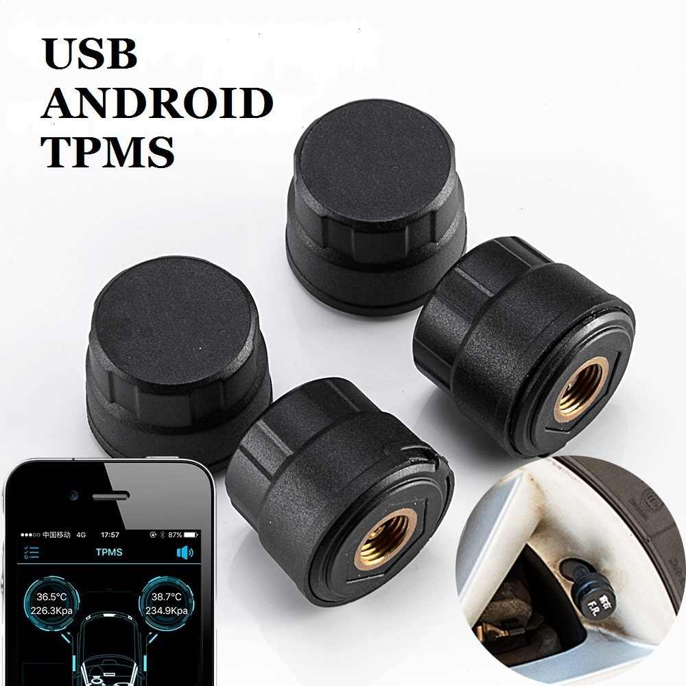 TPMS per Android AUTO Lettore DVD di Navigazione GPS Per Auto Della Pressione Dei Pneumatici Sistema di Monitoraggio con 4 Sensori Pneumatici Interfaccia USB Interna
