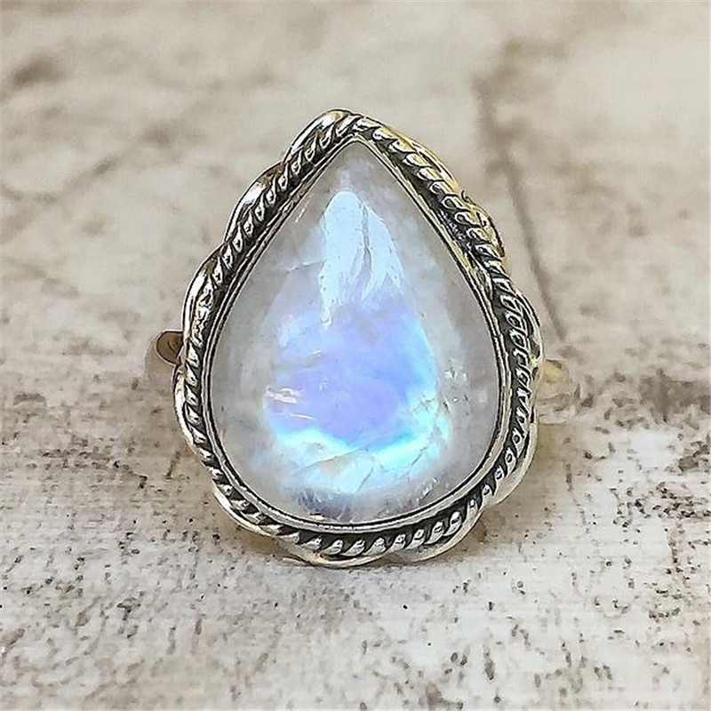 ZHIXUN New Arrival Large Moonstone Vintage Ring Antique Silver Romantic Anell Bague for Women Girl Engagement Jewelry Anillos