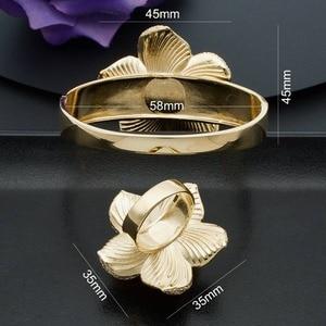 Image 5 - ModemAngel Luxury Large Bloom Flower Bracelet Bangle and Ring Set for Women Engagement Wedding Party