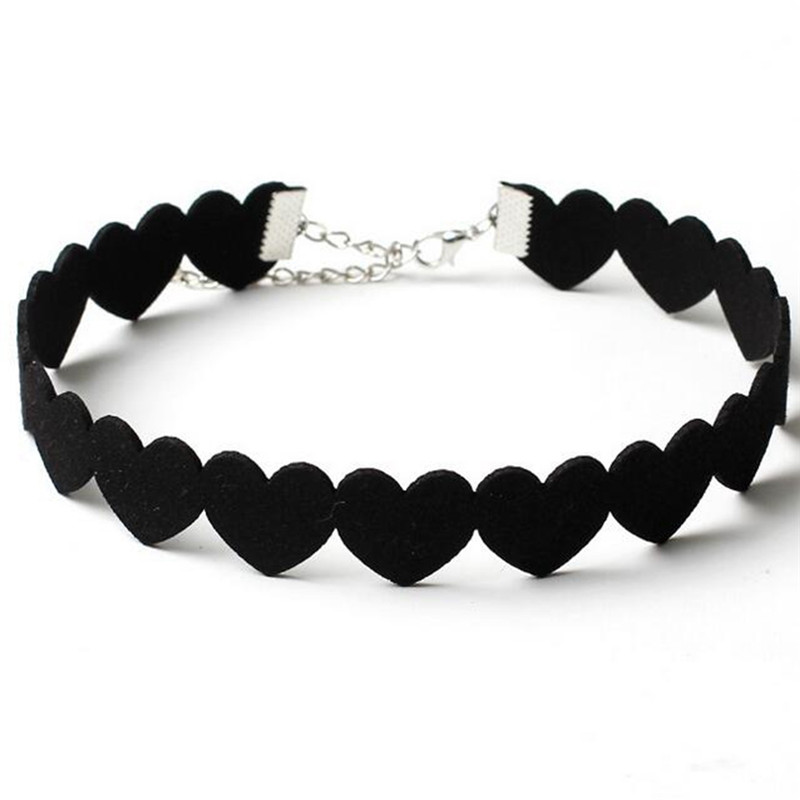 New Fashion Collar Jewelry Love Heart Design Leather Choker Necklace Black Statement Necklace Gift for Women Girl