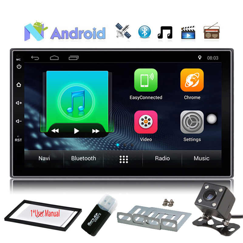 "7 Baru ""2din Android 7.1.1 Mobil Stereo Dvd Player Auto GPS + WIFI + Bluetooth + Radio + Quad Core + SWC + FM + Am + 1024*600 Dukungan Sentuh DAB"