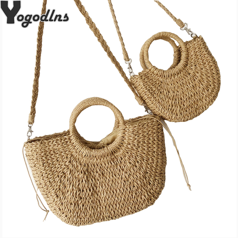 Straw Handbags For Women Summer Beach Bags Vintage Casual Shoulder Women Bags High Capacity Tote Bags Oval Shaped Bags