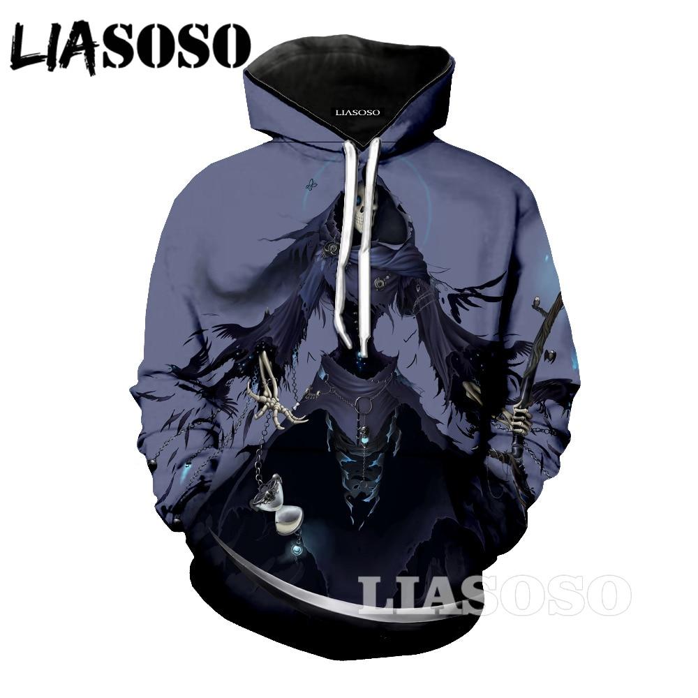 LIASOSO Grim Reaper Fashion Sweatshirts Men Womens Long Sleeve Skull Punisher Grim Reaper 3D Print Hip Hop Hooded Pullover ZA55
