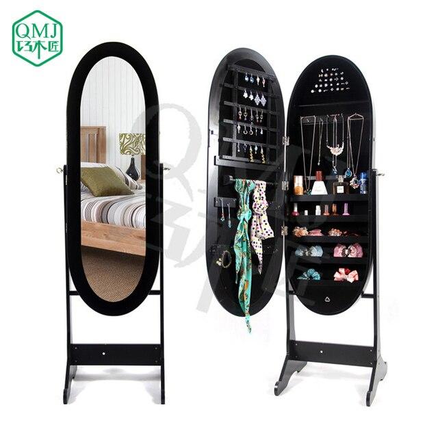 New Luxury Large Black Floor Standing Oval Mirror Jewelry Storage Cabinet Mirrored Makeup Organizer