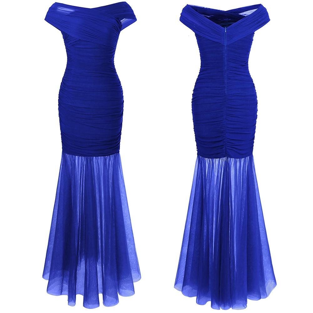 Angel-fashions Women's Long Evening Dresses V neck Ruched Pleat Formal Dress 408