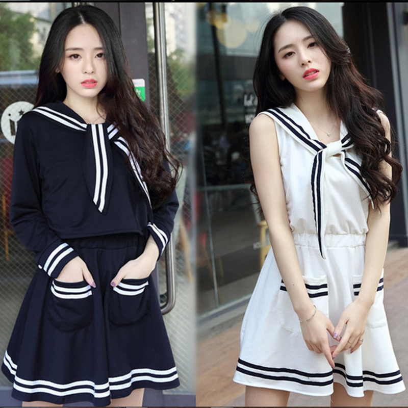 Japanese Korea School Uniforms Cosplay Costume Navy Academ Style Jk Girls Summer Student Clothes For Kids Sailor Suit C38171AD