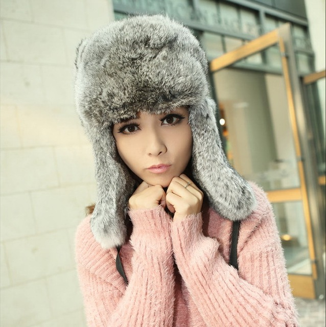 CDH005 100% Genuine Rabbit Fur Hat with Ear Flaps  Women Winter Bomber Hats For Keep Warm Free Shipping