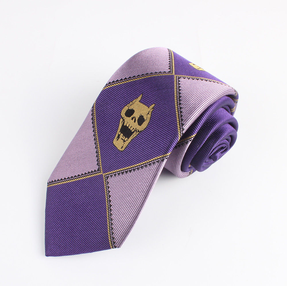 Enthusiastic Jojos Bizarre Adventure Killer Queen Kira Yoshikage Demon Skull Skeleton Jacquard Silk Tie Necktie Cosplay 7cm Purple Relieving Heat And Thirst. Apparel Accessories