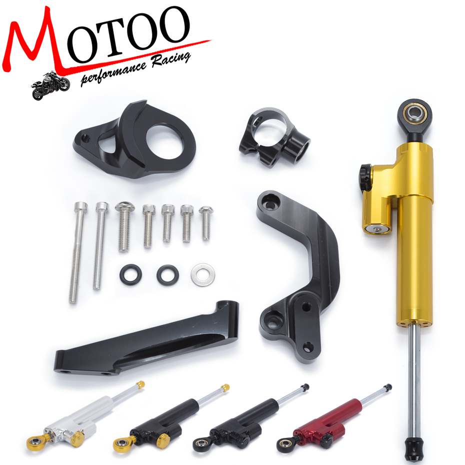 Motoo - Motorcycle Full set CNC Steering Damper Stabilizerlinear Linear Stabilizer Bracket kit For SUZUKI GSXR1000 2009-2015