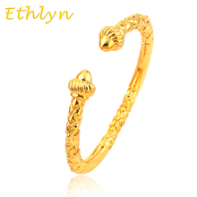 Ethlyn dubai Ethiopian African Men jewelry bangle Eritrea Habesha Gold  Color Opening embossing guarantee bracelets&bangles B24