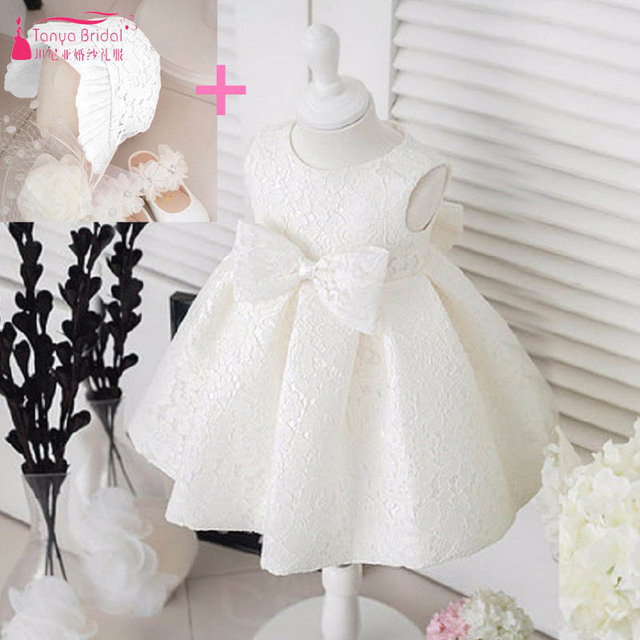 7eea57773f7 Ivory BaBy Lovely Dresses With Hats and Bow Little Kids Flower Girls Dresses  For Wedding Party Age Between 2 and 36 Month ZF024