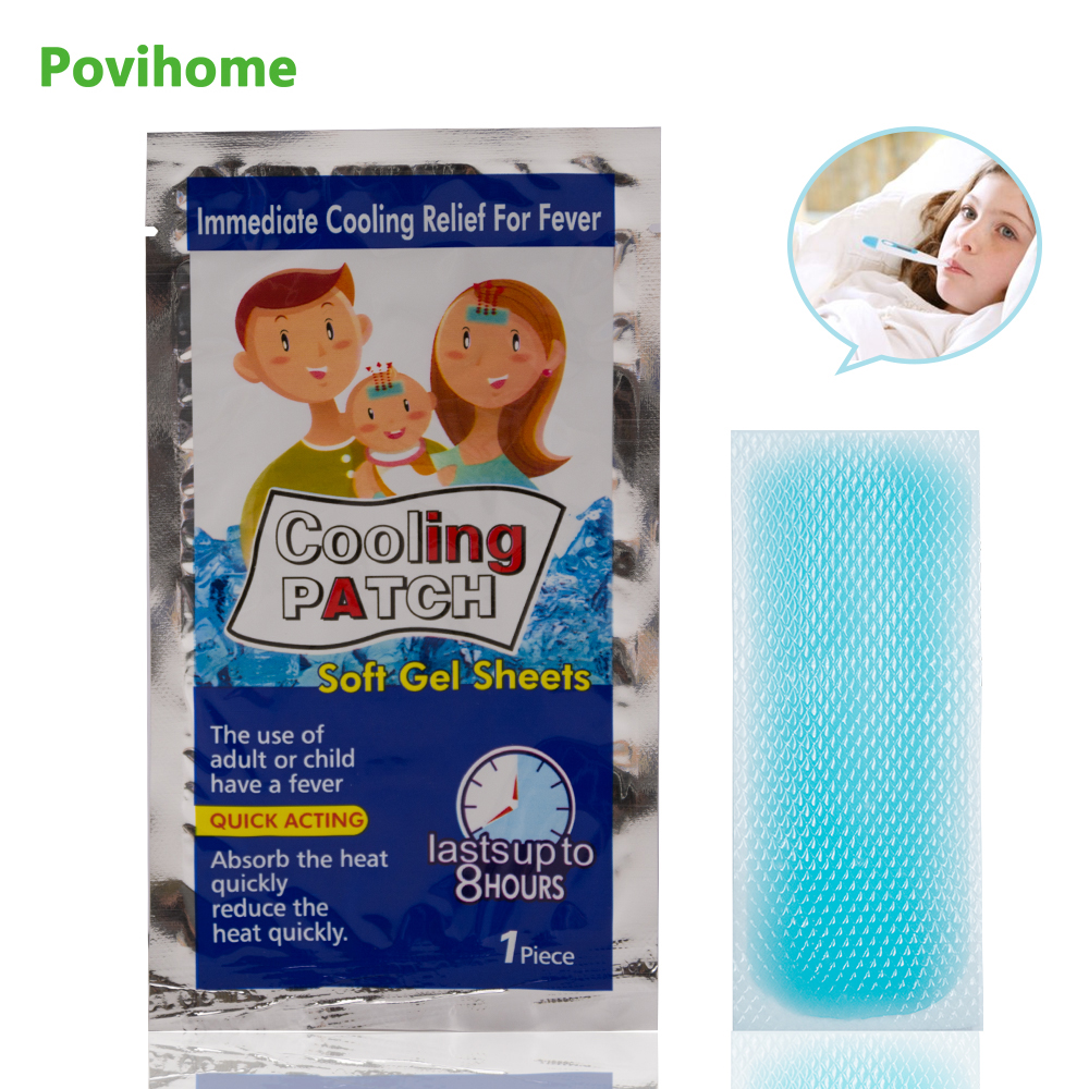5bags Cooling Patches Baby Fever Down Medical Plaster Migraine Headache Pad Lower Temperature Ice Gel Polymer Hydrogel D1726