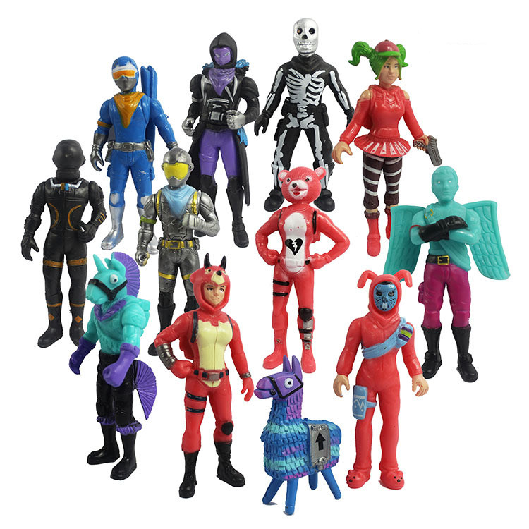 12pcs/set Fortress Night Llama PVC Action Figures Toy Battle Royale Game Character Model Figure Toys Boy Gift