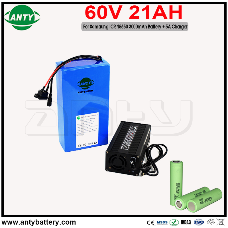 E Bike Battery 60v 21Ah Built in 50A BMS for Samsung 18650 30B Cell with 5A Charger for Lithium Battery 60v 2000w Free Shipping us eu free customs duty lithium 48v 1000w e bike battery 48v 17ah for original panasonic 18650 cell with 5a charger 30a bms