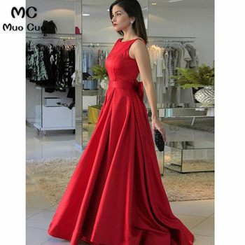 New Arrival  Red Prom Dresses with Bowknot Tank A-Line Satin Backless Formal Women's Evening Dresses Mother Dress