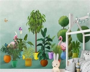 Обои на заказ, 3d росписи, скандинавские Рисованные растения, фламинго, садовые обои, домашний декор, 3d обои