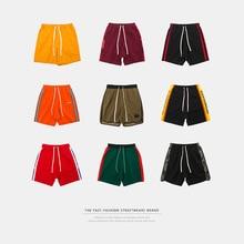 Inflação masculino calções de desporto listra lado contraste cor shorts carta impressão highstreet vintage masculino streetwear shorts