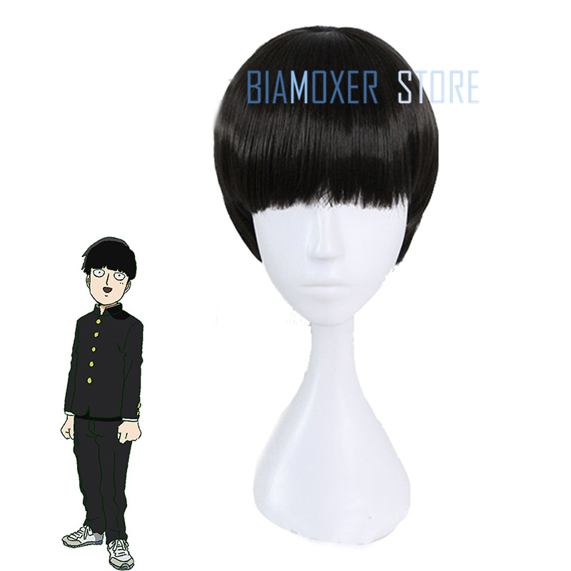 Biamoxer New Mob Psycho 100 Shigeo Kagey Cosplay Wigs Short Black Heat Resistant Synthetic Hair Perucas Cosplay Wig