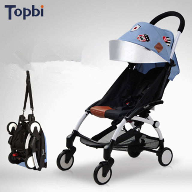 TOPBI Easy Fold Baby Stroller With Port Bag Light Pram For Plane Travel