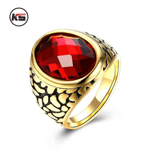 New Big Oval Red Male Wedding Ring Mens Ruby Jewelry 14KT Yellow