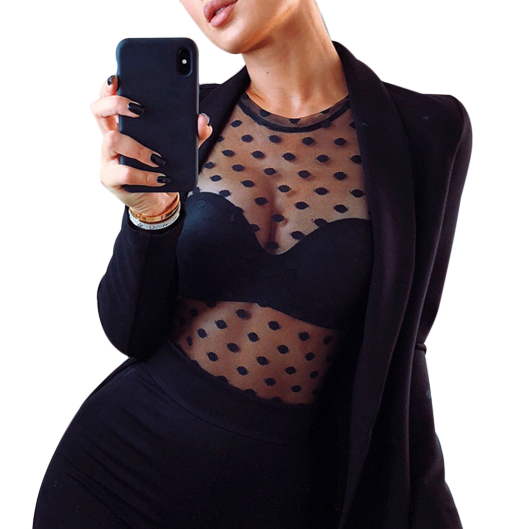 Transparent Women Summer Sexy Polka Dot Mesh   Blouse   Tops See Through Ladies Long Sleeve   Blouses     Shirts   White Black Blusas Mujer