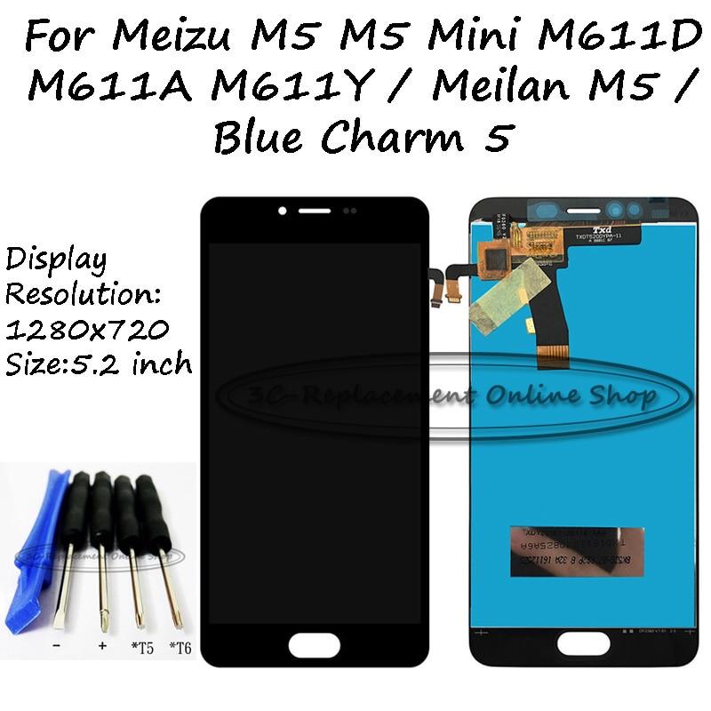imágenes para Para Meizu M5 M611D M611A M611Y M611D M611H/Meizu Meilan M5/Meizu M5 Mini LCD Display + Touch Screen Digitalizador Asamblea Herramientas