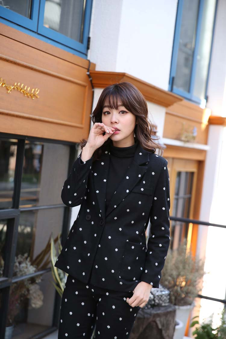 South-Korea-Official-2015-Wool-Suit-Female-Lovely-Polka-Dot-Western-Style-pants-suit