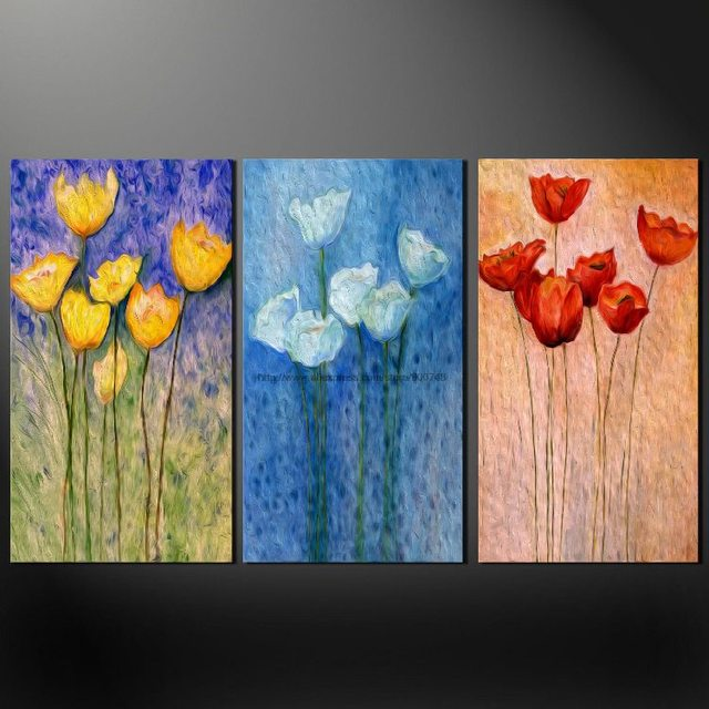 poppies set of three quality canvas s picture wall art oil paintings