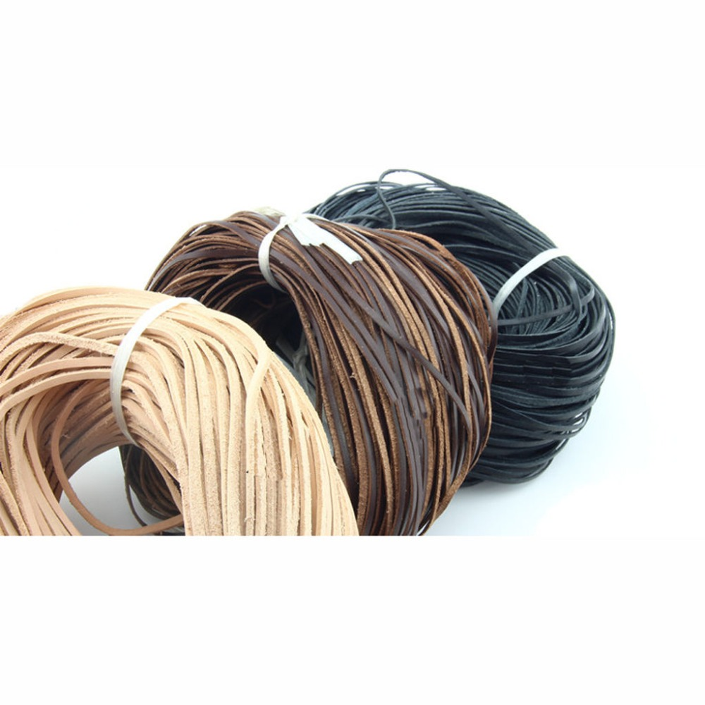 10mm*2mm 10m//100m Black Flat genuine Leather Cord Real Leather cord