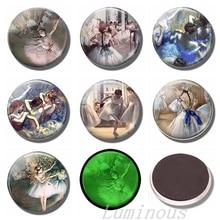 Luminous 30 MM Quotes Fridge Magnets Glass Refrigerator Magnet Edgard Degas Dancer Ballerina Retro Art Gifts DIY Magnetic Holder цены онлайн