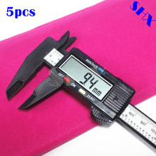 Discount! 5pcs 150mm 6inch LCD Digital Electronic Carbon Fiber Vernier Caliper Gauge Micrometer with Gift Pouch