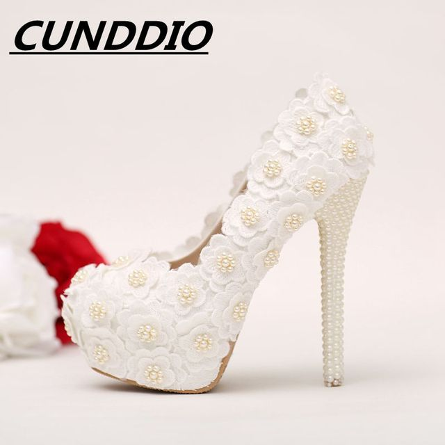 46988e2741 CUNDDIOCSuper flores de renda Branco sapatos de Noiva sapatos de salto alto  Bege pérola plataforma À